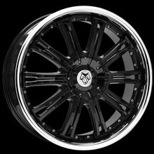 Kit 4 llantas Wolf Design Alloy Wheels VERMONT Black Centre & SS Lip 8.5 x 18