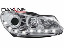 Focos delanteros luz diurna DAYLINE para VW Golf VI 08+ TFL-Optik chrome